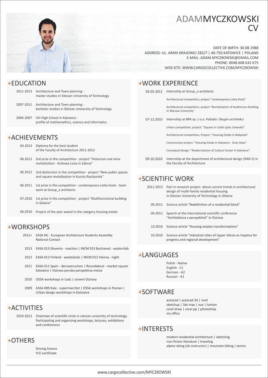 resume template  cv english